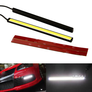 2pcs Dc 12v 6w Black Frame Led Strip Lights Car Drl Daytime Running Lamp Us Mt
