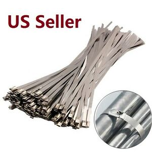 10 100pcs Stainless Steel Ball Lock Zip Straps Wrap Band Cable Tie Multi Length