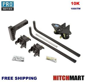10k 1000 Tw Round Bar Weight Distribution Trailer Hitch System 49583