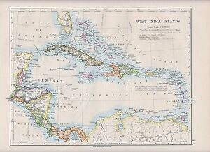 1931 Map West India Islands Central America Panama Cuba Jamaica Haiti