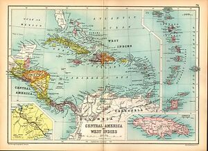 1909 Map Central America West Indies Jamaica Cuba Haiti Panama