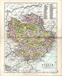 1890 Map Counties Of Scotland Forfar Showing Parishes Lochlee Fearn Dun