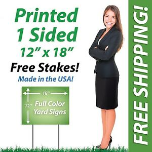 50 12x18 Yard Signs Political Full Color Corrugated Plastic Free Stakes