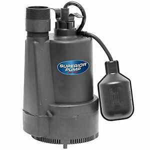 Superior Pump 92330 1 3 Hp Thermoplastic Sump Pump With Tethered Float Switch