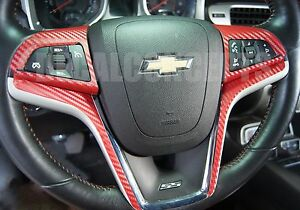 2012 2015 Camaro Red Carbon Fiber Full Steering Wheel Accent Decal Cover Wrap