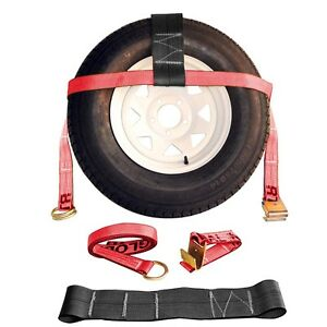 Two 2x Red Adjustable Tow Dolly Car Straps