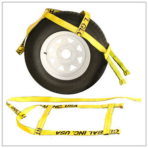 Two 2x Yellow Demco Kar Kaddy Tow Dolly Straps Rugged Weave Axle W Loops