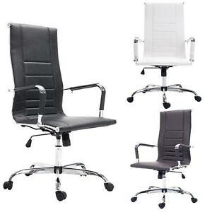 Pu Leather Ribbed Office Desk Chair High Back Tall Executive Luxury Chair