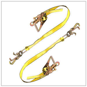 Two 2x Cluster Hook Flat Bed Straps Ratchets Rugged Weave Y