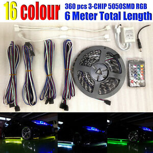 360 Rgb Led Light Bulb Waterproof Ground Effects Strip remote Control For Jeep