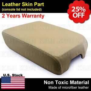 Leather Armrest Center Console Lid Cover Fits Toyota Tundra 2007 2013 Beige Tan