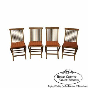Solid Teak Set Of 4 Folding Deck Chairs