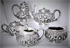 Antique Gorham Sterling Silver Repousse Tea Coffee Set 5 Pc 1333 Date Mark 1890