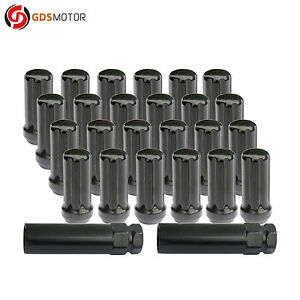 24pc 2 Extended Steel Wheel Lug Nuts 14x1 5 For Ford Chevy Gmc Cadillac Toyota