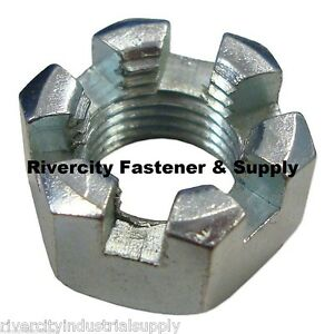 1 1 14 Slotted Hex Castle Nut Zinc Plated 1 X 14 Fine Thread 1 Inch Fine