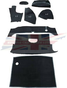New Deluxe 11 Piece Trunk Boot Black Carpet Kit Mgb 1963 80 Roadster Made Uk
