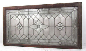Large Vintage Leaded Etched Glass Window 2762 Nj