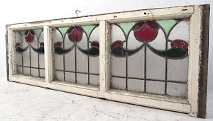 Vintage Art Deco French Stained Glass Hanging Window 2921 Nj