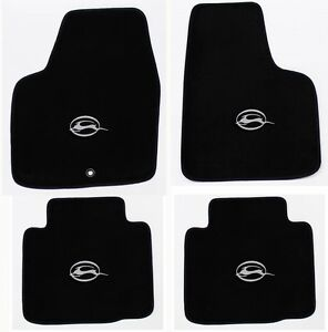 New Black Carpet Floor Mats 2006 2014 Chevy Impala Embroidered Logo Silver