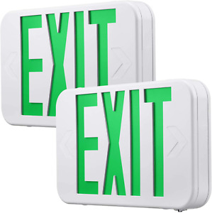 Green Led Exit Sign With Battery Backup Ul listed Emergency Light Ac 120v 277v