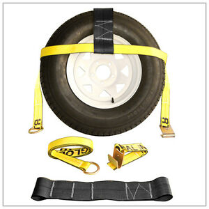 Two 2x Yellow Adjustable Tow Dolly Car Straps 4 Top Strap Flat Hook