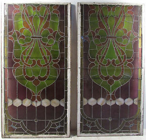 Pair Of Large Vintage Stained Glass Windows 3847 Nj