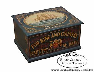 Hand Painted Nautical Battleship Lidded Chest Box Trunk Hms Leander B