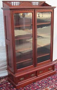Eastlake Victorian Cherry Antique Bookcase W Well Defined Stick
