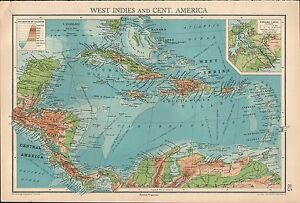 1936 Map West Indies Central America Jamaica Cuba Panama Canal Costa Rica