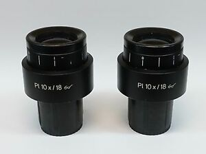 Pair Of Zeiss Pl 10x 18 Microscope Eyepiece Pn 444132 Excellent Condition