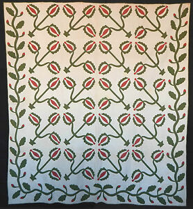 Antique 1850 Red And Green Applique Love Apple Quilt