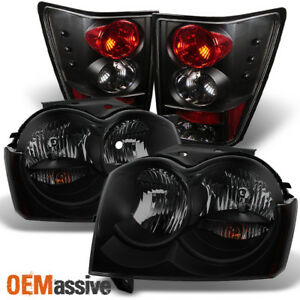 Fit 2005 2006 Jeep Grand Cherokee Black Smoked Headlights tail Lights Lamps Pair