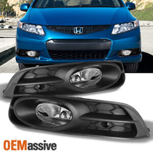 Fit 2012 2013 Civic 2 Dr Coupe Bumper Driving Clear Fog Lights W switch Bulbs