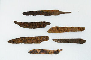 Lot Of 6 Ancient Medieval Knife Blade Roman Artifact Metal Detector Found