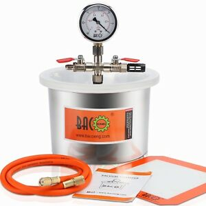 Bacoeng 1 5 Gallon Stainless Steel Arcrylic Lid Vacuum Degassing Chamber
