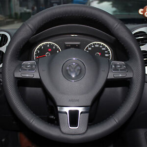 Real Leather Steering Wheel Cover For Vw Passat Tiguan B7 Jetta Golf Cc Eos Mk6