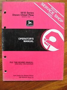 John Deere 1610 Drawn Chisel Plow Operator s Manual