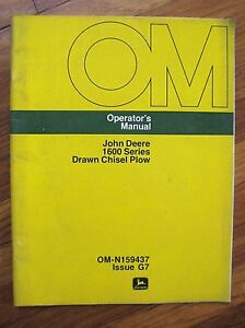 John Deere 1600 Drawn Chisel Plow Operator s Manual 1608 1610 1611 1620 1622
