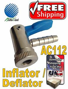 Automatic Tire Deflator Inflator Open Air Chuck Ac1112 Chrome Pastic Finish