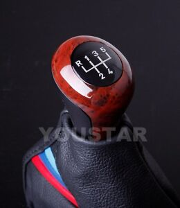 Usa Stock For Bmw 5 Speed Burl Wood Look Elegant Manual Gear Shift Knob