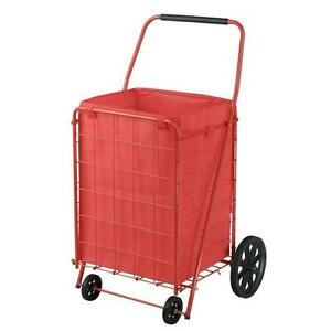 21 In 4 wheel Folding Grocery Shopping Laundry Utility Cart W Liner Red