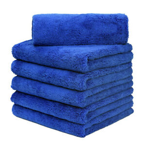 6 Pcs Microfiber Towel Auto Cleaning Drying Detailing 16 X 24 Blue red