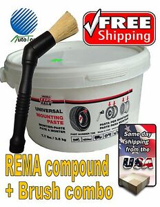 Rema Tire Universal Mounting Lube Paste Brush Made In Usa 75n Combo