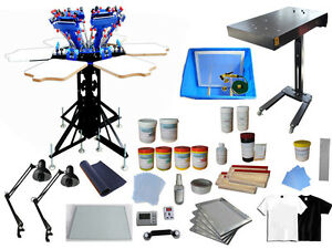 Silk Screen Printing Kit 6 Color 6 Station Press Flash Dryer squeegee frame