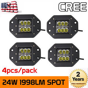 4x 24w Cree Spot Led Cube Pods Work Light Flush Mount Offroad Truck Jeep Square