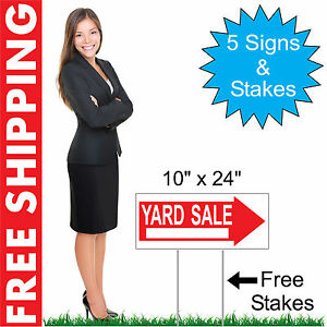 5 10 X 24 Yard Sale Directional Yard Signs Corrugated Plastic Free Stakes