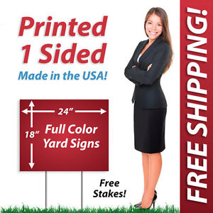 50 18x24 Yard Signs Political Full Color Corrugated Plastic Free Stakes 1s