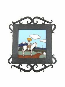 San Jose Style Tile Man On Horse Wrought Iron Wall Plaque
