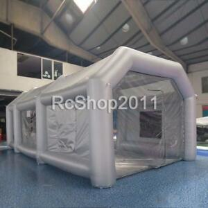 Grey Inflatable Giant Car Workstation Spray Paint Booth Tent 8 4 3m Fan 26ft
