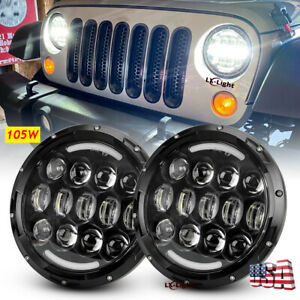7 Inch 105w Led Round Headlight With Halo Drl Turn Signal Light For Motor Jeep